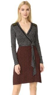Комбинированное платье-халат с длинным рукавом Diane von Furstenberg