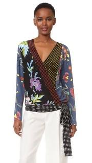 Блуза с перекрещенной отделкой и длинными рукавами Diane von Furstenberg