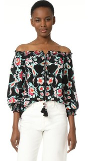 Блуза с мозаичным цветочным рисунком Tanya Taylor