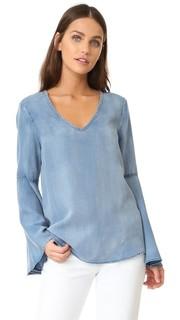 Блуза из ткани шамбре с расклешенными рукавами Scotch & Soda/Maison Scotch