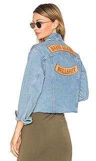 Babes against bullshit chopped denim jacket - Understated Leather
