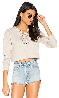 The tie up easy crop sweatshirt - MOTHER