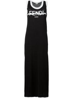 платье макси с логотипом Fendi