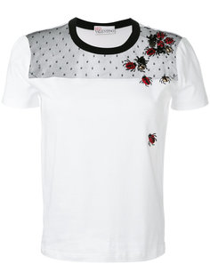 футболка с вышивкой в виде божьих коровок  Red Valentino