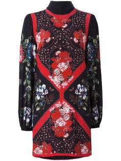 платье мини с цветочным узором и платком Alexander McQueen