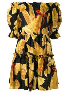 платье с принтом и открытыми плечами Dolce & Gabbana