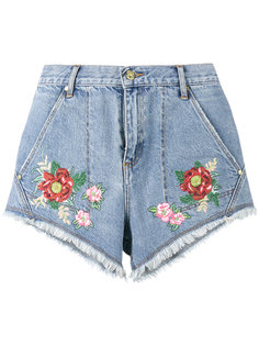 House of Holland x Lee flower embroidered denim shorts House Of Holland