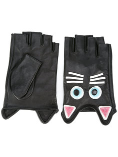 cat embroidered gloves Karl Lagerfeld