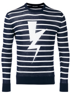 полосатый свитер с принтом вспышки молнии Neil Barrett