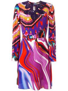 расклешенное платье с абстрактным принтом Roberto Cavalli