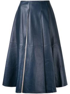 кожаная юбка миди Jil Sander