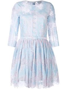плиссированное платье с кружевной отделкой Carven