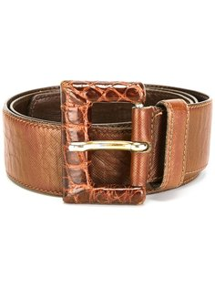 embossed crocodile buckle belt Prada Vintage