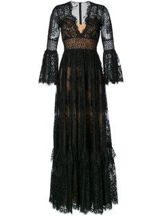 кружевное длинное платье с V-образным вырезом Zuhair Murad