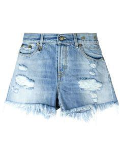 джинсовые шорты с бахромой R13