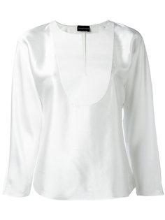 блузка с контрастным нагрудником Emporio Armani