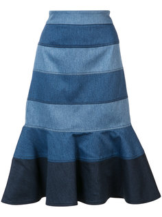 striped denim trumpet skirt Carolina Herrera