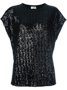 футболка декорированная пайетками Saint Laurent