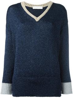 свитер с контрастным V-образным вырезом Giada Benincasa