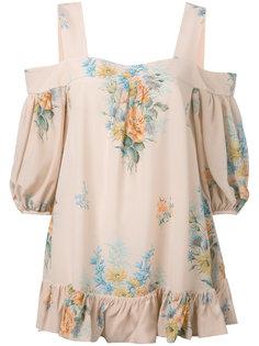 блузка с открытыми плечами и рисунком Alexander McQueen
