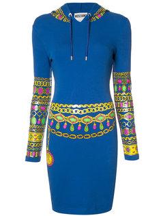 bejewelled print hoodie dress Moschino