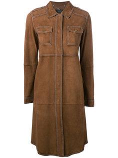 замшевое пальто длины миди Twin-Set