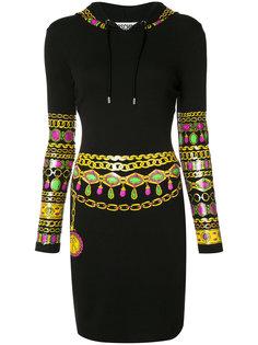 bejewelled printed hoodie dress Moschino