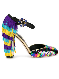 туфли с пайетками и бахромой Dolce & Gabbana