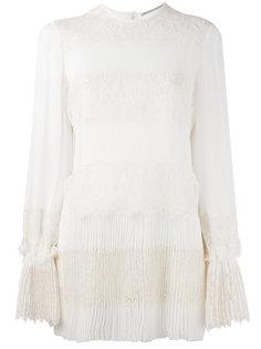 плиссированная блузка с кружевными панелями Ermanno Scervino