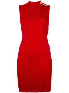 платье в рубчик без рукавов Balmain