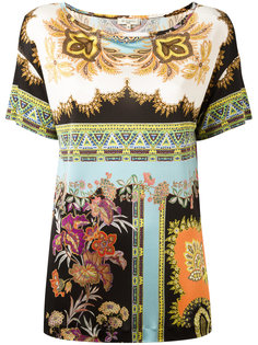 шелковая блузка с комбинированным принтом Etro