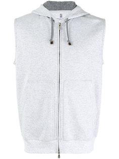 zip up sleeveless hoodie  Brunello Cucinelli