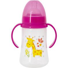 Бутылочка для кормления с ручками и силиконовой соской Жираф, 250 мл, Kurnosiki, розовый Курносики