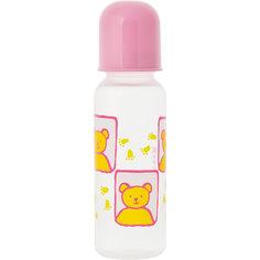 Бутылочка с крышкой и силиконовой соской, 250 мл, Kurnosiki, розовый Курносики