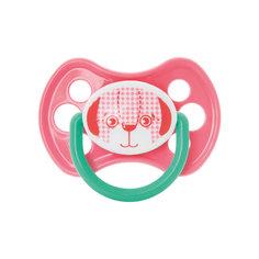 """Пустышка латексная ортодонтическая  6+ """"Зверята"""", Kurnosiki, розовый Курносики"""