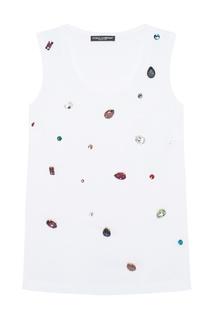 Хлопковый топ с кристаллами Dolce & Gabbana