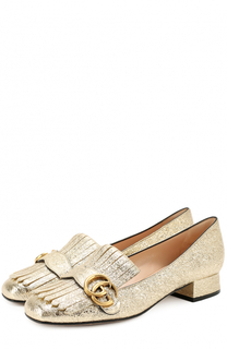 Туфли Marmont из металлизированной кожи с бахромой и пряжкой Gucci
