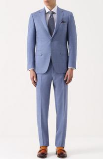 Шерстяной костюм в клетку с пиджаком на двух пуговицах Canali
