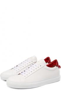Кожаные кеды на шнуровке с контрастной отделкой задника Givenchy