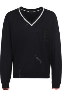 Пуловер из шерсти тонкой вязки с декоративными потертостями Lanvin