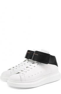 Высокие кожаные кеды на шнуровке с застежкой велькро Alexander McQueen