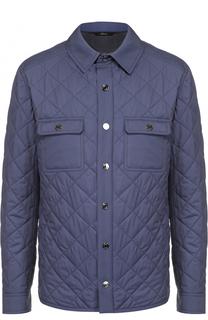 Шелковая стеганая куртка с отделкой из натуральной кожи Brioni