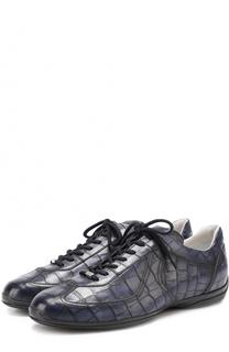 Кожаные кроссовки с тиснением Santoni