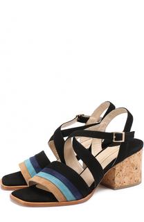 Замшевые босоножки на устойчивом каблуке Paloma Barcelo