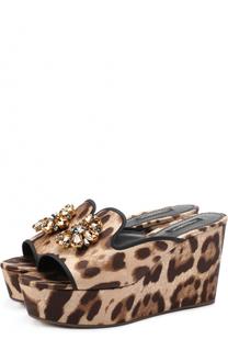 Сабо Bianca из текстиля с брошью Dolce & Gabbana