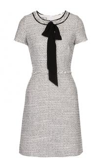 Буклированное мини-платье с воротником аскот Weill