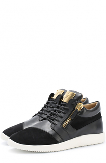 Кожаные кроссовки Runner с замшевым мысом Giuseppe Zanotti Design