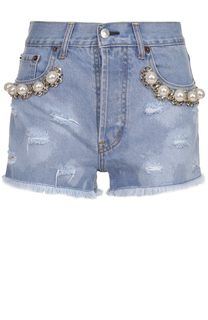 Джинсовые мини-шорты с бахромой и жемчужной отделкой Forte Couture