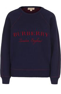 Свитшот свободного кроя с контрастным логотипом бренда Burberry
