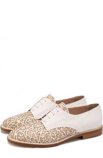 Кожаные ботинки с цветочным узором Oscar de la Renta